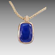 Vintage Joan Rivers Long Gold Chain w Sapphire Blue Focal Pendant