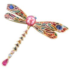 Gorgeous Dragonfly Brooch by Joan Rivers Colorful Pin and Lively Design