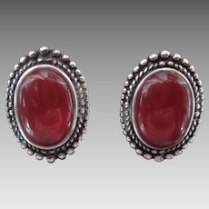 Beautiful Carnelian Sterling Silver Clip Earrings Vintage