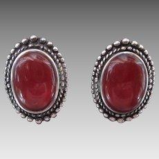 Beautiful Carnelian Sterling Silver Clip Earrings Vintage