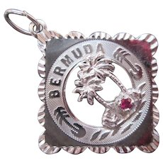 Vintage Sterling Silver with Ruby Gemstone Souvenir Travel Charm