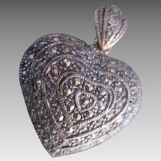 Sterling Marcasite Heart Pendant Bulbous Full Body Silver for Necklace