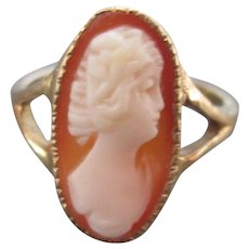 Antique 14K Gold Cameo Ring Size 5-1/2