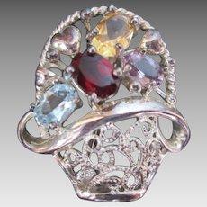 Sterling Gemstone Flower Basket Silver Brooch w Heart & 4 Gems