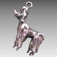 Adorable French Poodle Dog Charm Vintage Sterling Silver