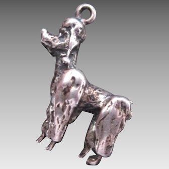 Adorable French Poodle Dog Charm Vintage Sterling Silver