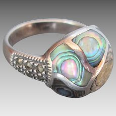 Sterling Silver Marcasite Mother of Pearl Abalone Ring Size 8