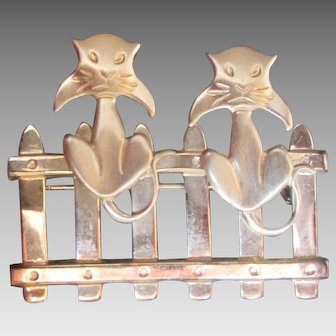 Delightful Pair of Cats on Picket Fence Brooch Gold Vermeil over Sterling by BEAU Pin