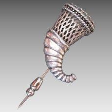 Vintage Sterling Silver Cornucopia Stick Pin Posey Holder Basketweave