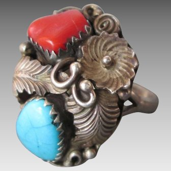 Sterling Silver Navajo Ring Coral Turquoise by RC Size 6-3/4