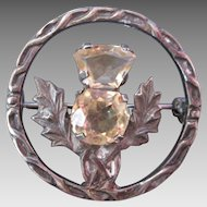 Vintage Scottish Silver Thistle Circle Brooch Double Citrine Stones Hallmarks