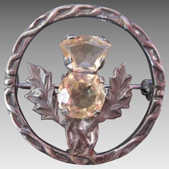 Vintage Scottish Silver Thistle Circle Brooch Double Citrine Stones Hallmarks