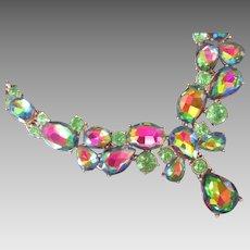 Amazing Colors Watermelon Rhinestone Glass Necklace w Drop
