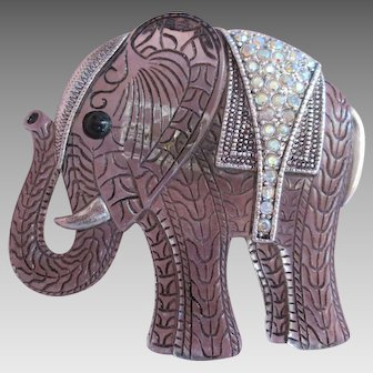 Happy Elephant Brooch Big and Bold with Trunk up Rhinestone Saddle