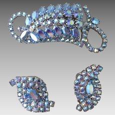 Exquisite Aurora Borealis Blue Rhinestone Brooch & Earrings Vintage