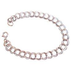 Vintage Sterling Silver Starter Charm Bracelet Double Link