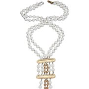 Dramatic 1960s Napier Chain-Strung Lucite Beaded Long Necklace with 2-Tier Gold-Plated Pendant