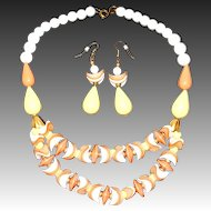 Vintage New Old Stock Lucite Beaded Draped Bib Necklace & Matching Earrings Set