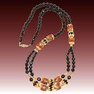 Vintage Deco Style Jet Lucite Metallic Beaded Necklace
