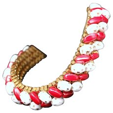 Vintage 1950s Red & White Peppermint Glass Beaded Gold Tone Mesh Bracelet