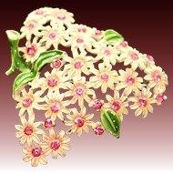 Vintage 1940s Enamel & Rhinestone Daisy Floral Pin Brooch