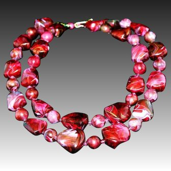 Vintage Signed Marvella Chunky Marbled Lucite 2-Strand Beaded Necklace