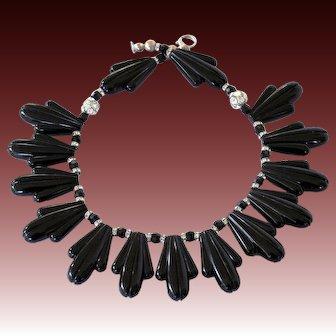 Vintage Art Deco Style Black Lucite Thermoset Rhinestone Necklace
