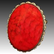 Vintage Original by Robert Red Art Glass Brooch & Pendant 1960s
