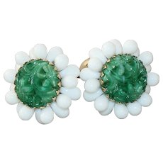 Vintage Napier Bertolli Faux Jade Molded Glass Earrings 1965