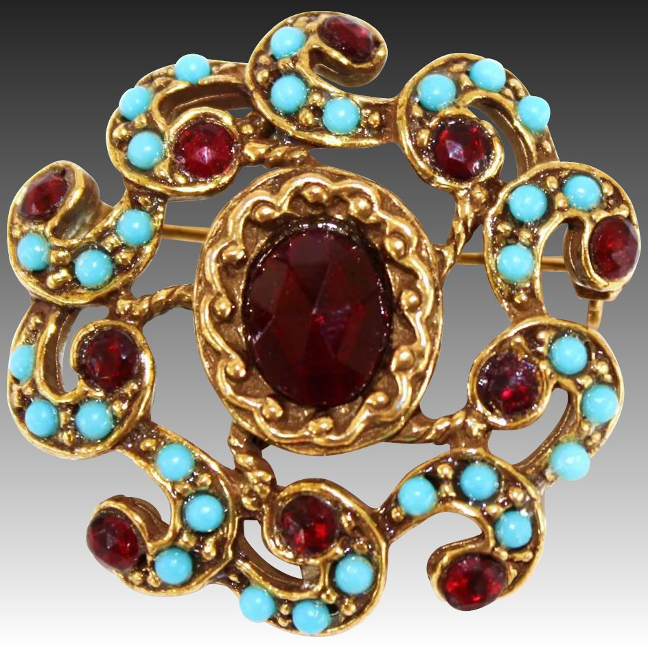 Vintage Goldette Red Ruby Glass Rhinestone Paste Amp Faux