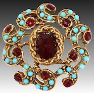 Vintage Goldette Red Ruby Glass Rhinestone Paste & Faux Turquoise Beaded Brooch Book Piece