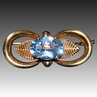Vintage Signed French Aquamarine Brooch/Pin Gold Plated Metal Trombone Clasp 1940s