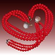 Vintage Karla Jordan Triple Strand Art Glass Beaded Necklace & Bracelet Set