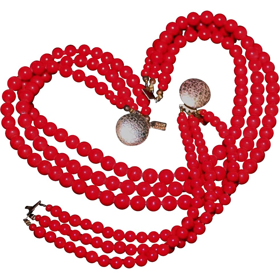 8515d5de3d Vintage Karla Jordan Triple Strand Art Glass Beaded Necklace & : Cosmo  Collection | Ruby Lane