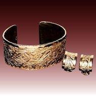 Vintage Napier Gold-Plated Wide Cuff Bracelet & Matching Ear Clips Set 1950s