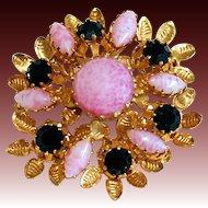 Vintage Austrian Pink Art Glass & Black Rhinestone Floral Pin/Brooch Signed