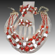 Vintage Coral & White Plastic Beaded Necklace, Bracelet & Earrings Parure 1950s