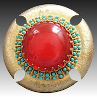 Cadoro Vintage Egyptian Revival Pin/Brooch with Carnelian Art Glass Cabochon and Turquoise Enameled Beads