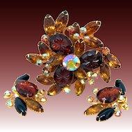 Vintage Beaujewels Aurora Borealis Pin/Brooch & Signed Earrings Set
