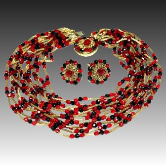 Signed Vendome Beaded Multi-Strand Necklace with Decorative Clasp & Matching Earrings Vintage 1950s
