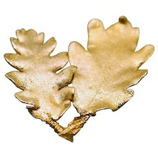 Vintage 1960s 24K Gold Leaf Pin/Brooch from Austria with Original Box
