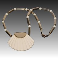 """Napier Vintage Thermoset Lucite Shell Pendant Necklace 1980s """"Ivory Collection"""""""