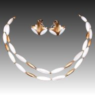 Napier Art Deco Style Mother-of-Pearl Necklace & Earring Set
