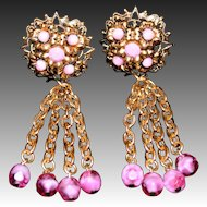 Deco Style Signed West Germany Tassel Chain Drop Clip Earrings with Glass Beads