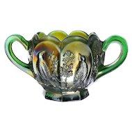 Northwood Singing Birds Green Carnival Glass Open Sugar Bowl