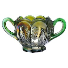 Northwood Singing Birds Green Carnival Glass Open Sugar Bowl