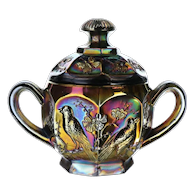 Northwood Amethyst Carnival Glass Song Birds Sugar Bowl with Lid