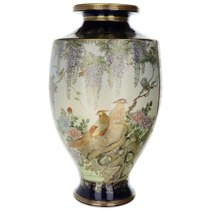 Fine Antique Japanese Satsuma Vase Hand Painted With Birds And