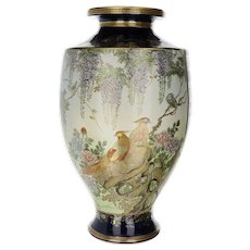 Fine Antique Japanese Satsuma Vase Hand Painted with Birds and Wisteria Flowers