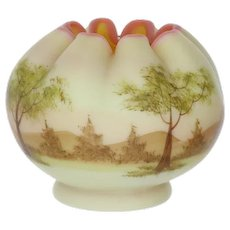 Fenton Art Glass Hand Painted Tree Scene Burmese Rose Bowl